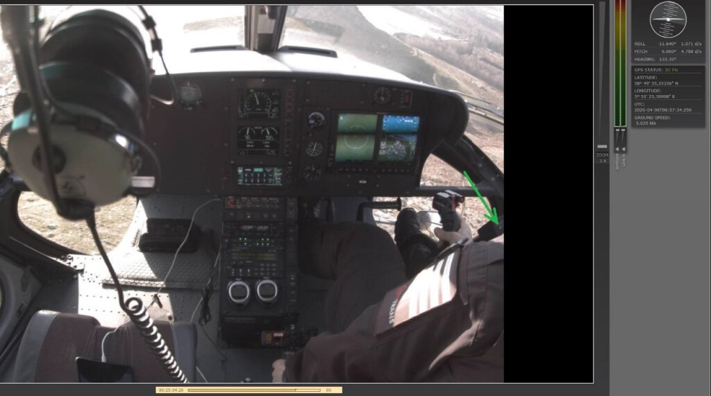 The helicopter has rolled left to an angle of 11.6 degrees and has a nose high angle of 6 degrees. The commander has moved the cyclic stick all the way to the right, and his right foot has just slipped off the pedal. A single green light can be seen on the far right in the image, indicating a load of less than 100 kg (green arrow). (Credit: NSIA)