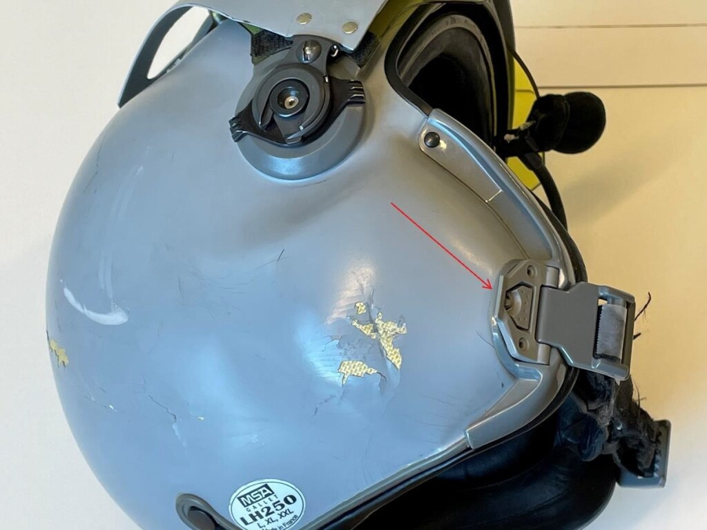 Helmet of of Helitrans Airbus AS350B3 LN-OFQ after HESLO Dynamic Rollover (Credit: NSIA)