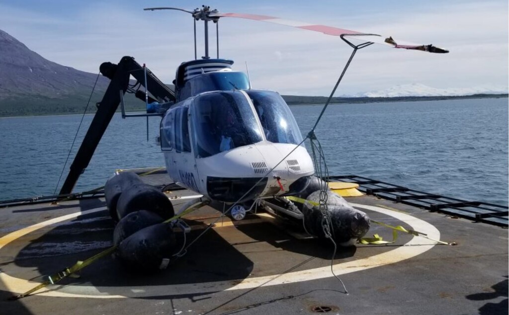 Bell206L-1 N1432 Recovered Aboard RV Steadfast Following a Main Rotor Blade Strike During HESLO and Ditcing (Credit: Operator via NTSB)